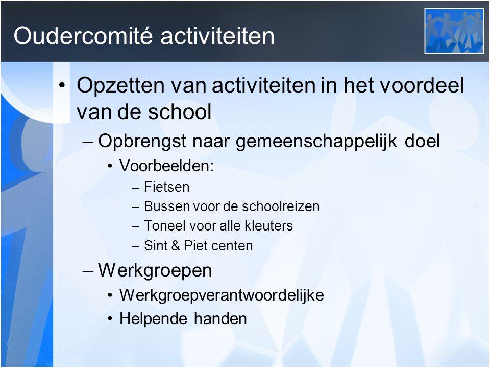 Oudercomité activiteiten Opzetten van activiteiten in het voordeel van de school –Opbrengst naar gemeenschappelijk doel Voorbeelden: –Fietsen –Bussen