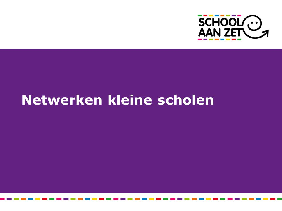 Visie op de kleine school Stellingen: Samenwerkingsscholen hebben de toekomst in krimpgebieden.