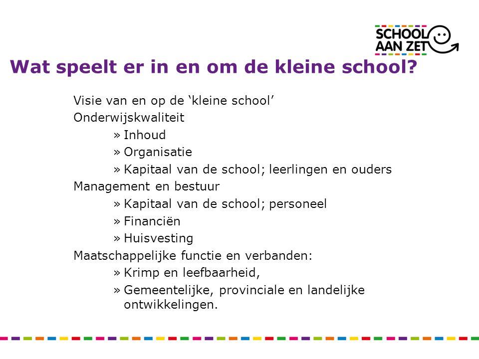 Wat speelt er in en om de kleine school? Visie van en op de 'kleine school' Onderwijskwaliteit »Inhoud »Organisatie »Kapitaal van de school; leerlinge