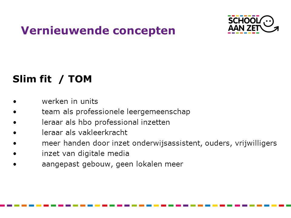 Vernieuwende concepten Slim fit / TOM werken in units team als professionele leergemeenschap leraar als hbo professional inzetten leraar als vakleerkr