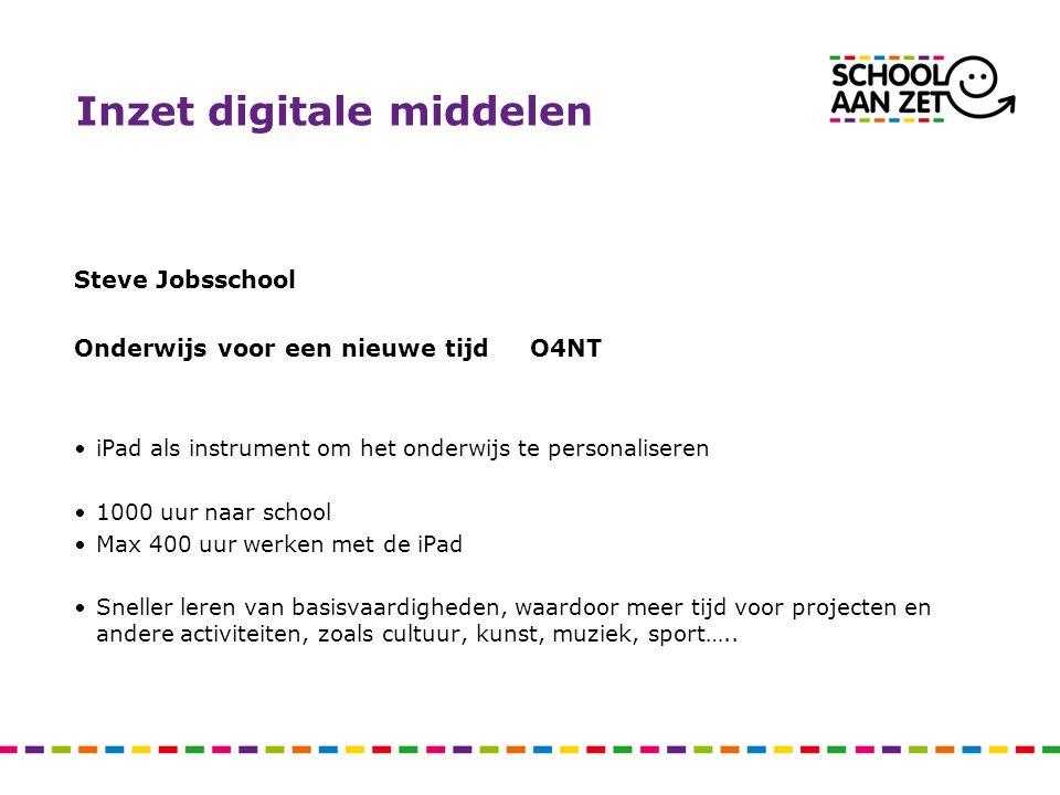 Inzet digitale middelen Steve Jobsschool Onderwijs voor een nieuwe tijd O4NT iPad als instrument om het onderwijs te personaliseren 1000 uur naar scho
