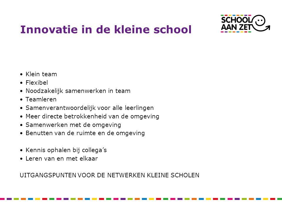 Innovatie in de kleine school Klein team Flexibel Noodzakelijk samenwerken in team Teamleren Samenverantwoordelijk voor alle leerlingen Meer directe b
