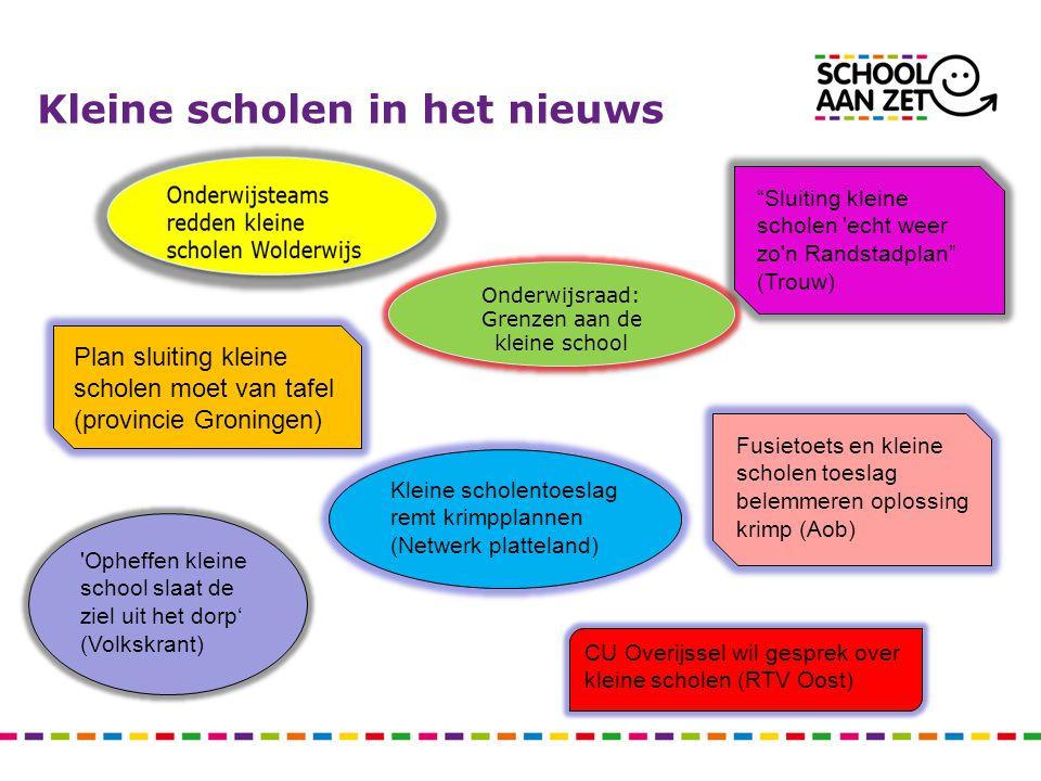 Kleine scholen in het nieuws Onderwijsraad: Grenzen aan de kleine school Onderwijsraad: Grenzen aan de kleine school Kleine scholentoeslag remt krimpp
