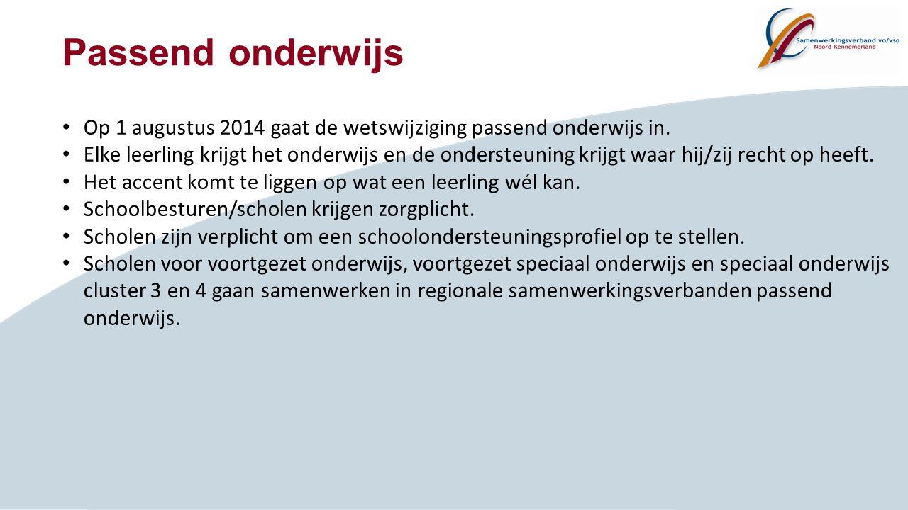 Passend onderwijs Op 1 augustus 2014 gaat de wetswijziging passend onderwijs in. Elke leerling krijgt het onderwijs en de ondersteuning krijgt waar hi