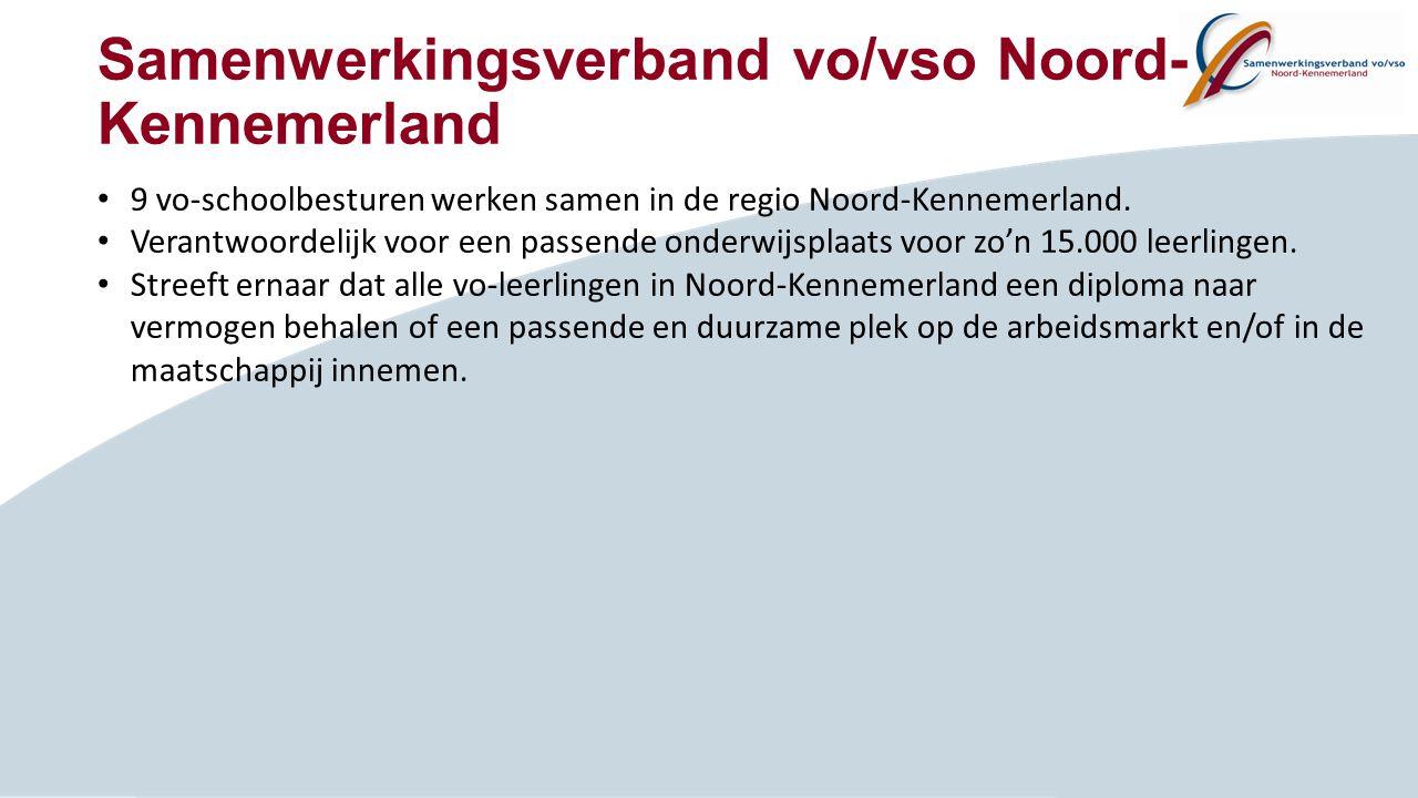 Samenwerkingsverband vo/vso Noord- Kennemerland 9 vo-schoolbesturen werken samen in de regio Noord-Kennemerland. Verantwoordelijk voor een passende on