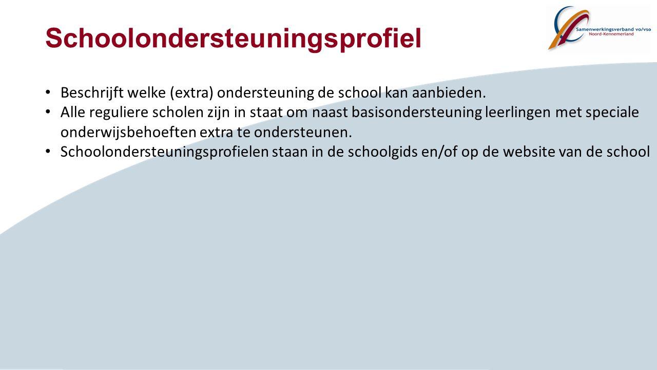 Schoolondersteuningsprofiel Beschrijft welke (extra) ondersteuning de school kan aanbieden. Alle reguliere scholen zijn in staat om naast basisonderst