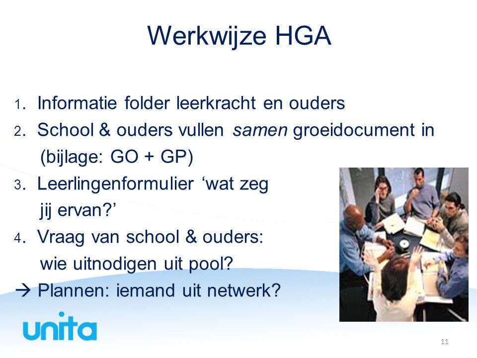 Werkwijze HGA 1.Informatie folder leerkracht en ouders 2.
