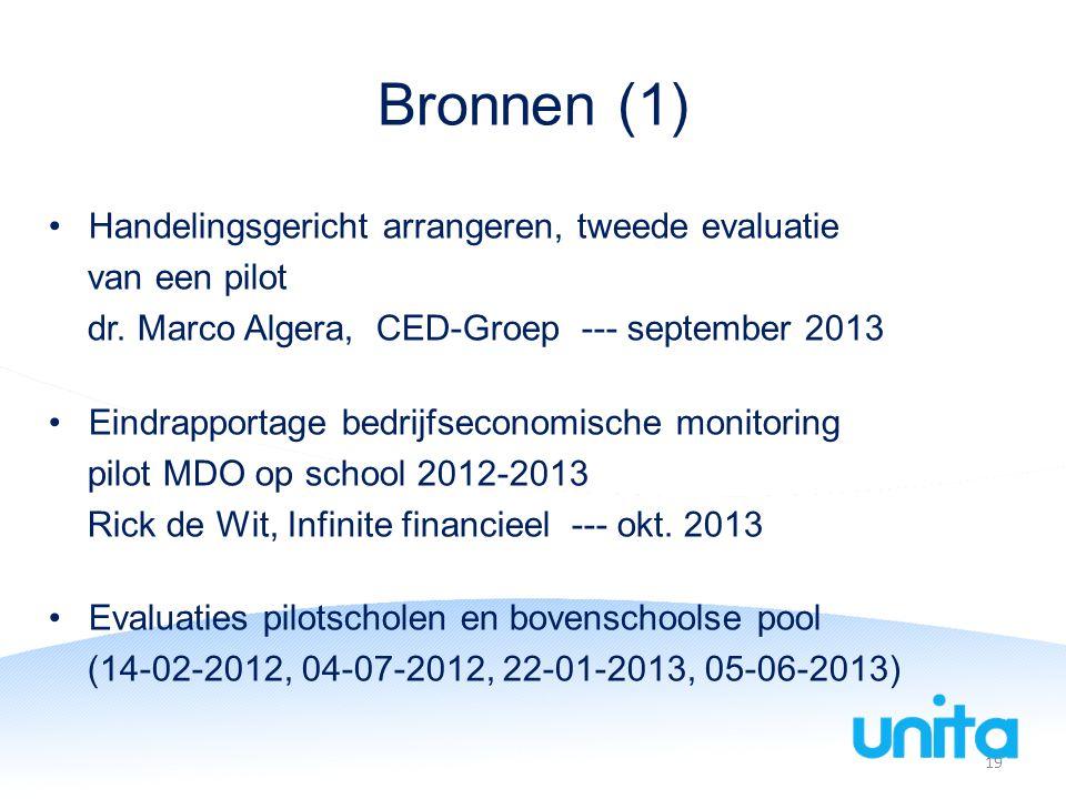 Bronnen (1) Handelingsgericht arrangeren, tweede evaluatie van een pilot dr.