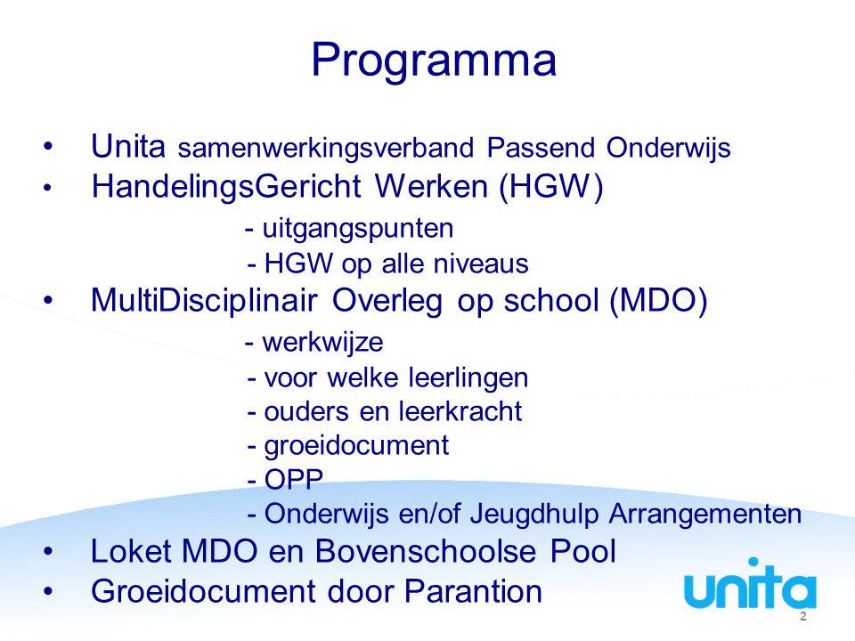 Programma Unita samenwerkingsverband Passend Onderwijs HandelingsGericht Werken (HGW) - uitgangspunten - HGW op alle niveaus MultiDisciplinair Overleg op school (MDO) - werkwijze - voor welke leerlingen - ouders en leerkracht - groeidocument - OPP - Onderwijs en/of Jeugdhulp Arrangementen Loket MDO en Bovenschoolse Pool Groeidocument door Parantion 2