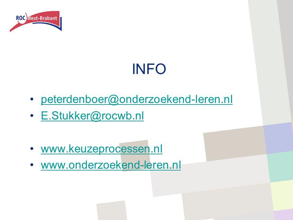 INFO peterdenboer@onderzoekend-leren.nl E.Stukker@rocwb.nl www.keuzeprocessen.nl www.onderzoekend-leren.nl