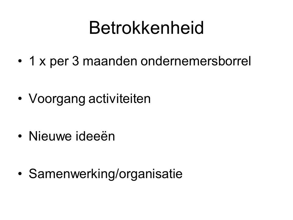 Betrokkenheid 1 x per 3 maanden ondernemersborrel Voorgang activiteiten Nieuwe ideeën Samenwerking/organisatie