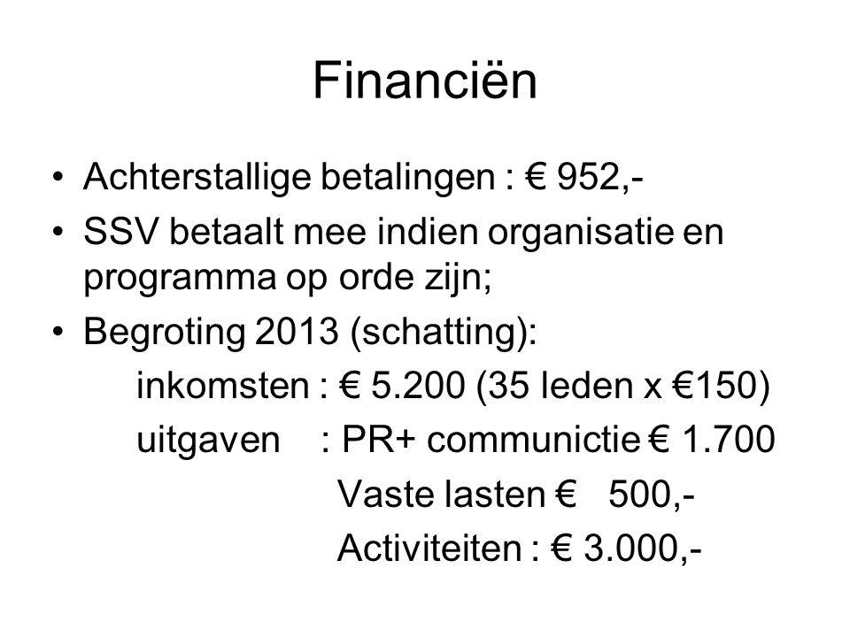 Financiën Achterstallige betalingen : € 952,- SSV betaalt mee indien organisatie en programma op orde zijn; Begroting 2013 (schatting): inkomsten : € 5.200 (35 leden x €150) uitgaven : PR+ communictie € 1.700 Vaste lasten € 500,- Activiteiten : € 3.000,-