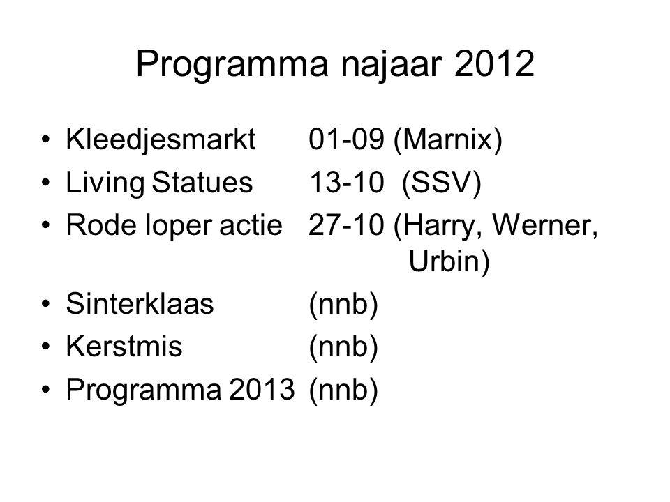 Programma najaar 2012 Kleedjesmarkt01-09 (Marnix) Living Statues13-10 (SSV) Rode loper actie 27-10 (Harry, Werner, Urbin) Sinterklaas(nnb) Kerstmis(nnb) Programma 2013(nnb)