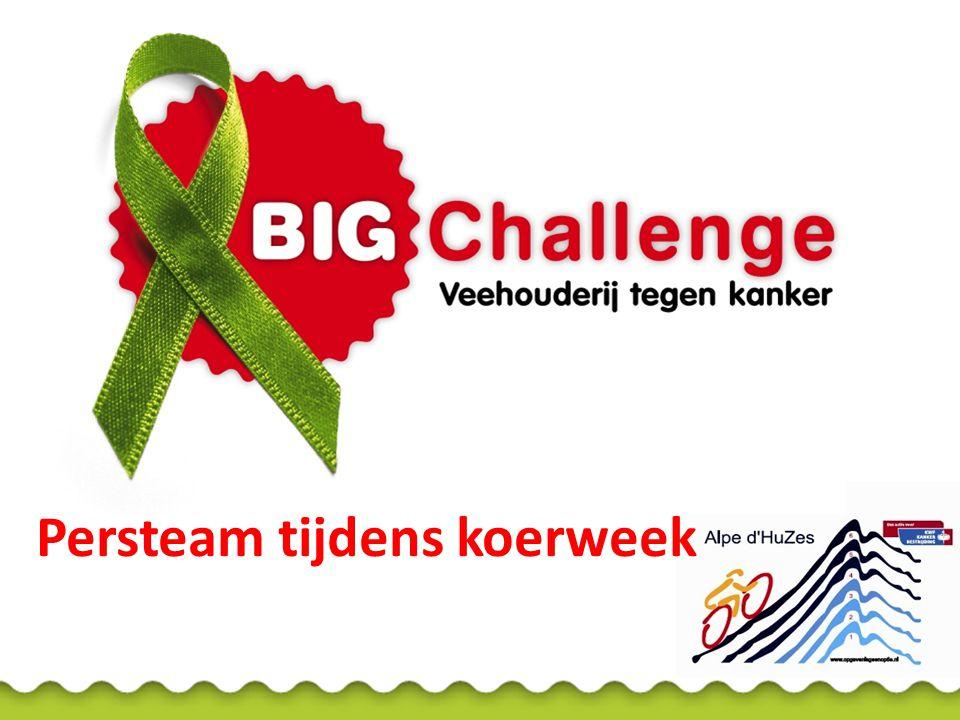 Persteam BIG Challenge Aanspreekpunt vooraf en tijdens koersweek Organiseert dagelijkse blogs van fietsers voor diverse media Stuurt nieuws en foto's van BIG Challenge naar Nederlandse en Duitse pers Regelt interviews voor radio en tv met fietsers