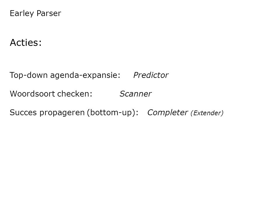 Earley Parser Acties: Top-down agenda-expansie: Predictor Woordsoort checken: Scanner Succes propageren (bottom-up): Completer (Extender)