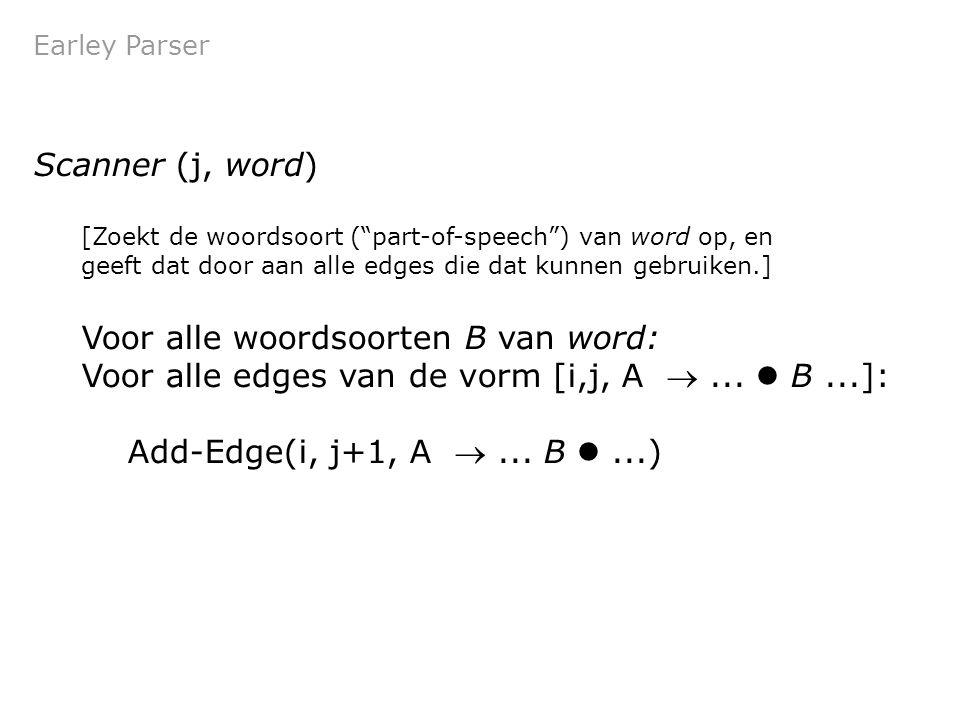Earley Parser Scanner (j, word) [Zoekt de woordsoort ( part-of-speech ) van word op, en geeft dat door aan alle edges die dat kunnen gebruiken.] Voor alle woordsoorten B van word: Voor alle edges van de vorm [i,j, A ...