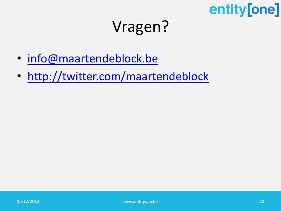 Vragen info@maartendeblock.be http://twitter.com/maartendeblock 13/12/2012www.entityone.be23