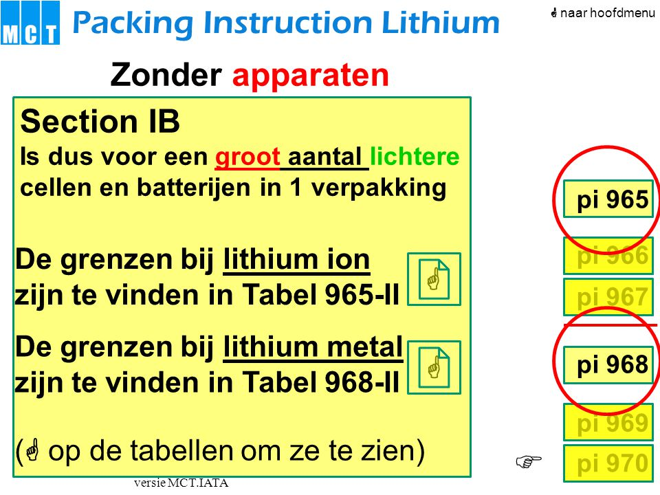  versie MCT.IATA pi 966 pi 967 pi 968 pi 969 pi 970 pi 965 Packing Instruction Lithium Zonder apparaten Section IB Is dus voor een groot aantal lic