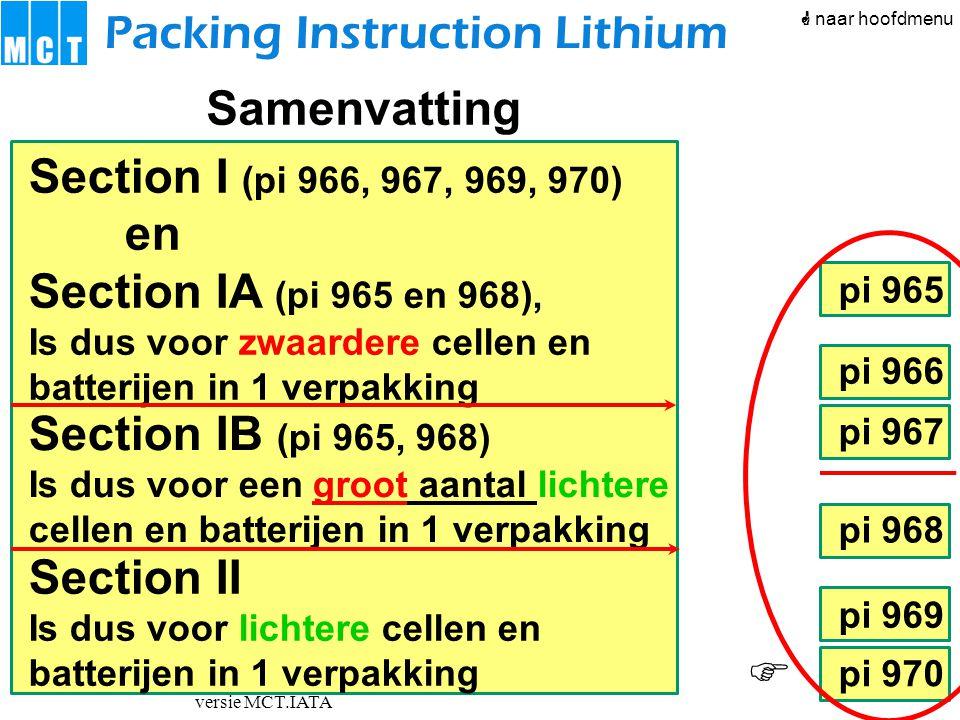 versie MCT.IATA pi 966 pi 967 pi 968 pi 969 pi 970 pi 965 Packing Instruction Lithium Section I (pi 966, 967, 969, 970) en Section IA (pi 965 en 968),