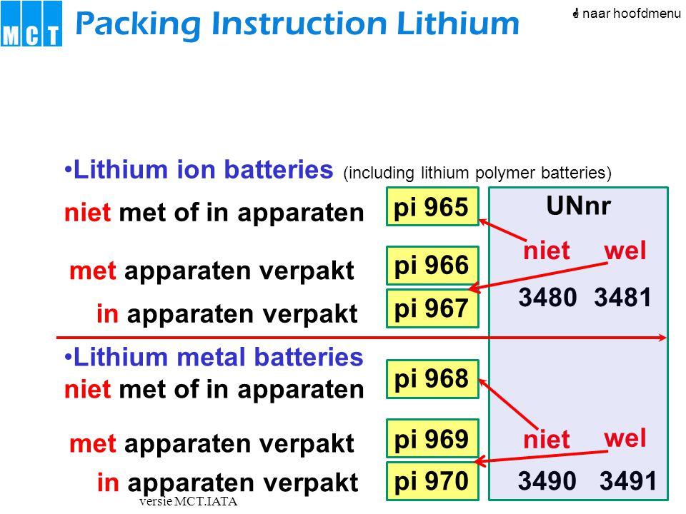 versie MCT.IATA pi 966 pi 967 pi 968 pi 969 pi 970 pi 965 Packing Instruction Lithium Tabel 965-IB Inhoud UN3480 Cell ≤ 2,7 Wh of batterij ≤ 100 Wh  Verpakking overschrijdt tabel 965-II vliegtuig Passagiers- of vrachtvliegtuig Alleen vrachtvliegtuig CAO max kg per pakket10 kg Lithium ion, zonder apparaten Eigen verklaring Soort Pas op Beschadigd.