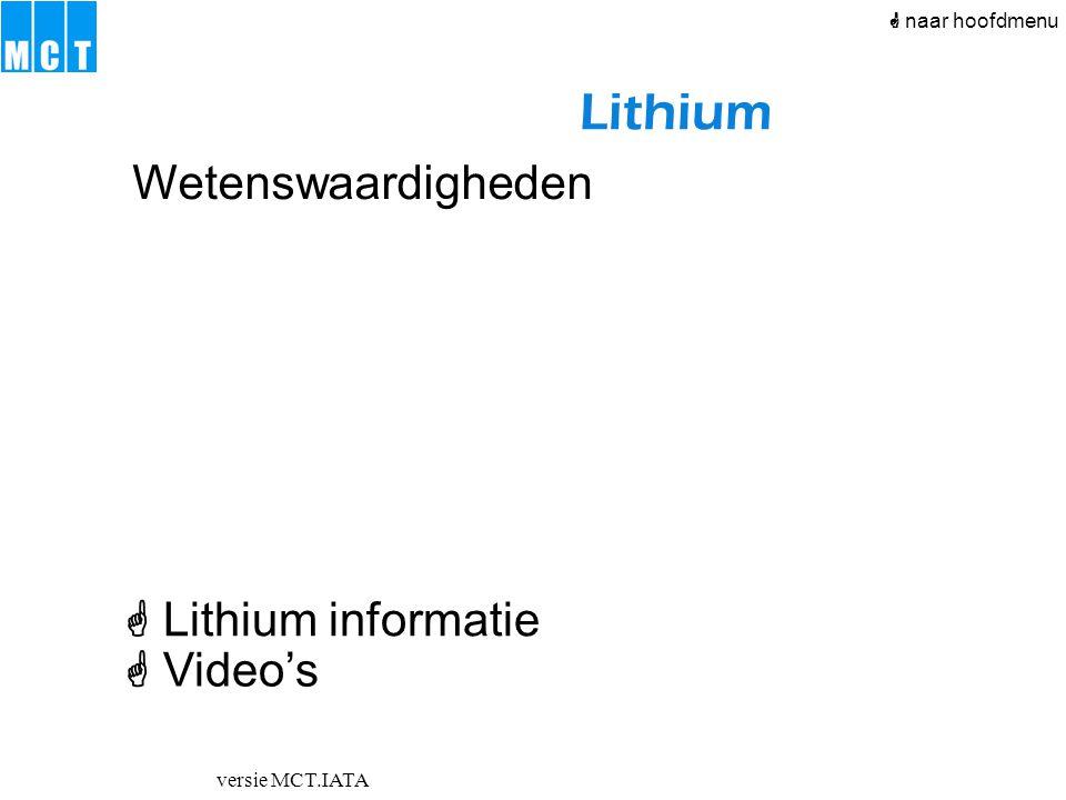versie MCT.IATA Lithium  Lithium informatie  Video's Wetenswaardigheden  naar hoofdmenu