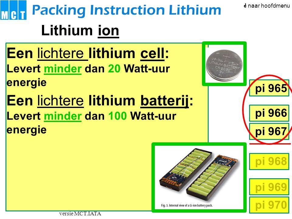 versie MCT.IATA pi 966 pi 967 pi 968 pi 969 pi 970 pi 965 Een lichtere lithium cell: Levert minder dan 20 Watt-uur energie Een lichtere lithium batter