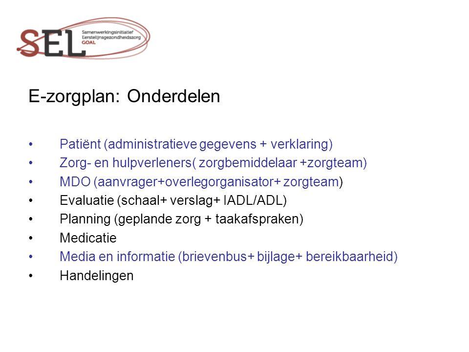 E-zorgplan: Onderdelen Patiënt (administratieve gegevens + verklaring) Zorg- en hulpverleners( zorgbemiddelaar +zorgteam) MDO (aanvrager+overlegorganisator+ zorgteam) Evaluatie (schaal+ verslag+ IADL/ADL) Planning (geplande zorg + taakafspraken) Medicatie Media en informatie (brievenbus+ bijlage+ bereikbaarheid) Handelingen