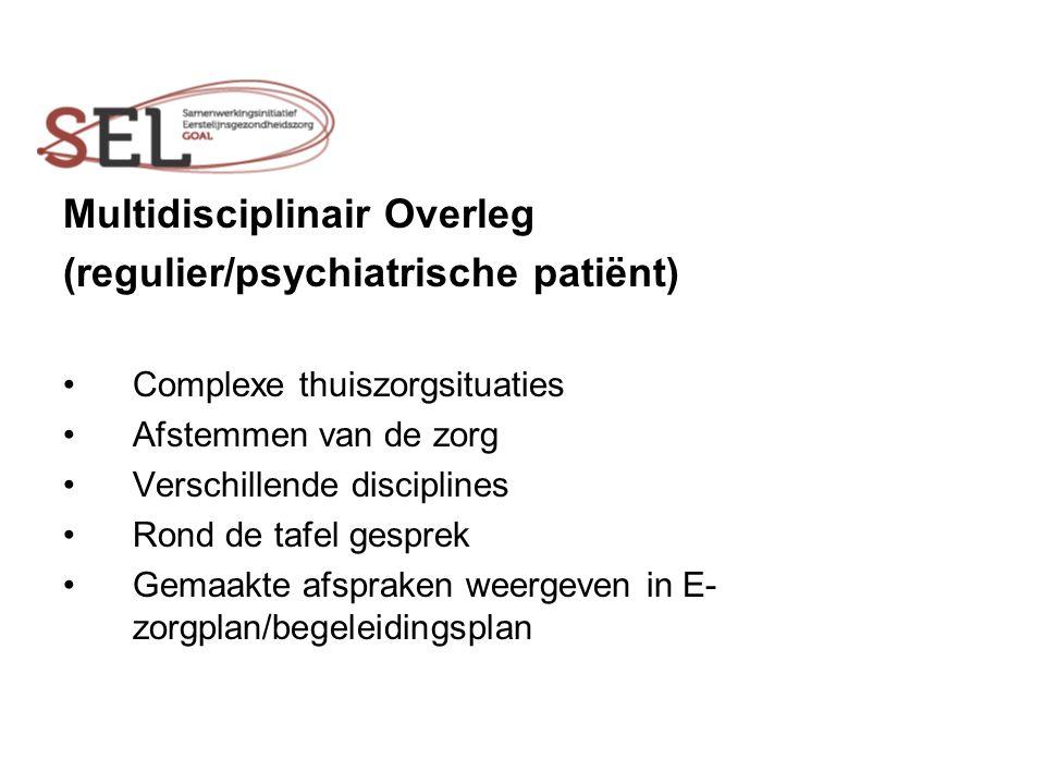Multidisciplinair Overleg (regulier/psychiatrische patiënt) Complexe thuiszorgsituaties Afstemmen van de zorg Verschillende disciplines Rond de tafel gesprek Gemaakte afspraken weergeven in E- zorgplan/begeleidingsplan