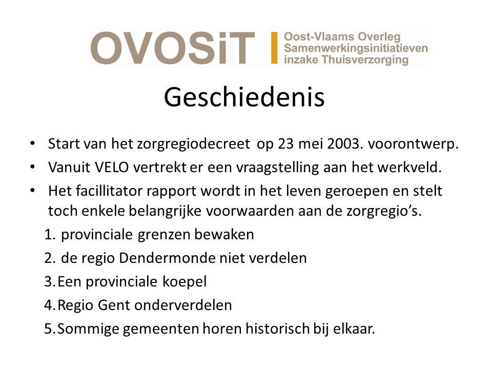 Geschiedenis Start van het zorgregiodecreet op 23 mei 2003.