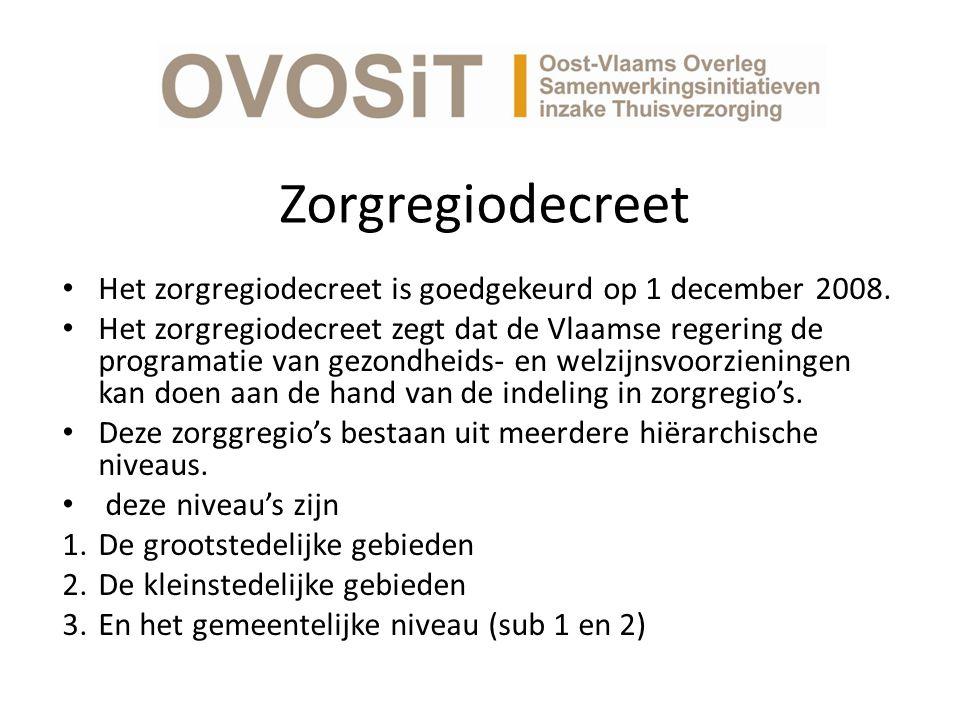 Zorgregiodecreet Het zorgregiodecreet is goedgekeurd op 1 december 2008.