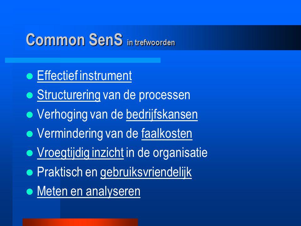 Common SenS in trefwoorden Effectief instrument Structurering van de processen Verhoging van de bedrijfskansen Vermindering van de faalkosten Vroegtijdig inzicht in de organisatie Praktisch en gebruiksvriendelijk Meten en analyseren