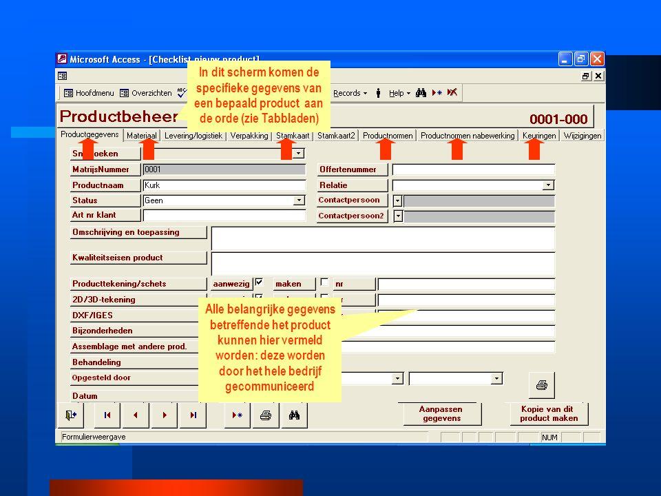 In dit scherm komen de specifieke gegevens van een bepaald product aan de orde (zie Tabbladen) Alle belangrijke gegevens betreffende het product kunne