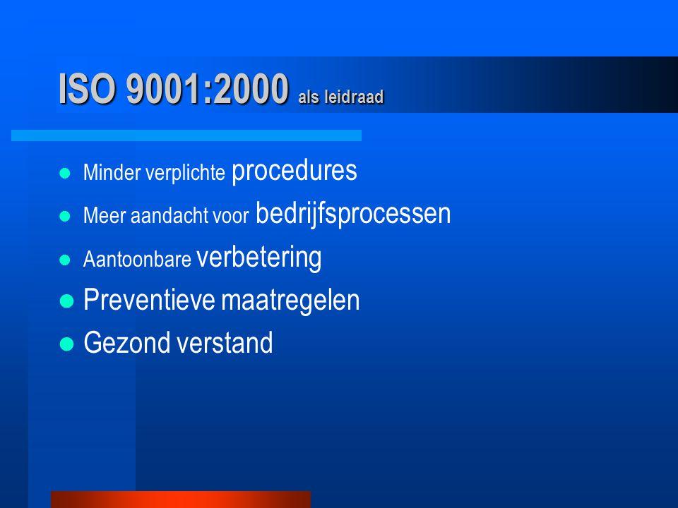 ISO 9001:2000 als leidraad Minder verplichte procedures Meer aandacht voor bedrijfsprocessen Aantoonbare verbetering Preventieve maatregelen Gezond verstand