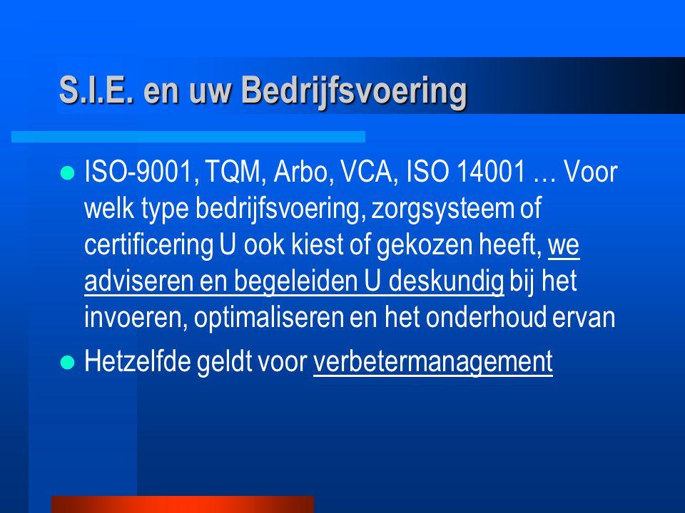 ISO-9001, TQM, Arbo, VCA, ISO 14001 … Voor welk type bedrijfsvoering, zorgsysteem of certificering U ook kiest of gekozen heeft, we adviseren en begeleiden U deskundig bij het invoeren, optimaliseren en het onderhoud ervan Hetzelfde geldt voor verbetermanagement S.I.E.