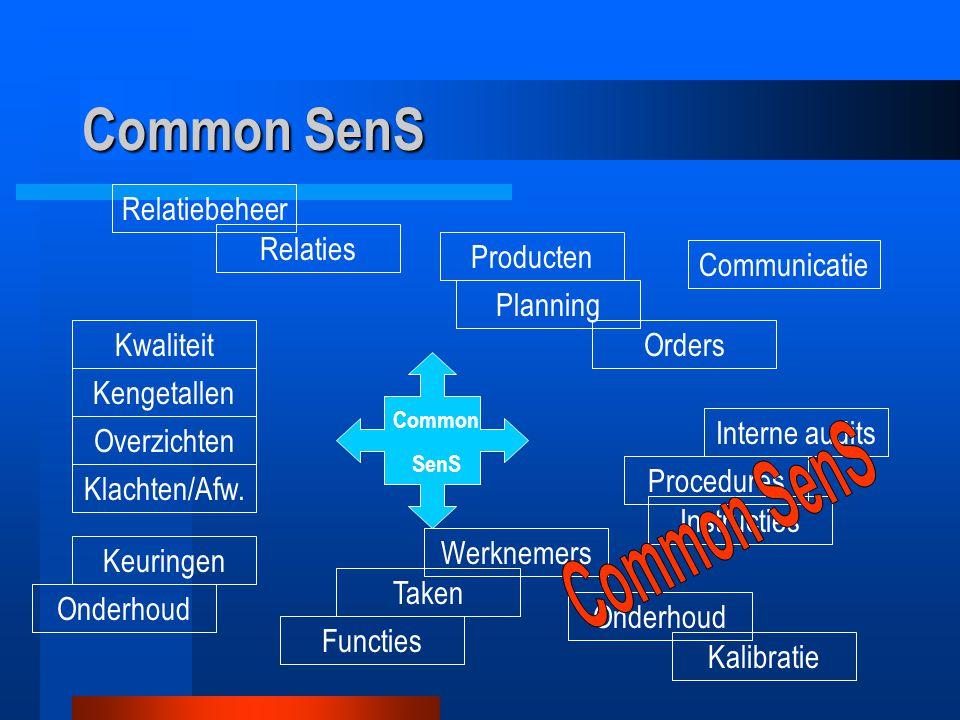 Common SenS Relaties Kwaliteit Overzichten Keuringen Taken Instructies Procedures Orders Producten Common SenS Relatiebeheer Interne audits Onderhoud