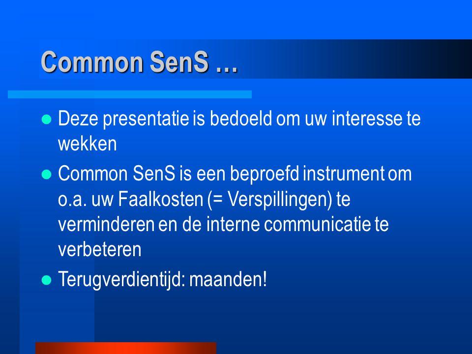 Common SenS … Deze presentatie is bedoeld om uw interesse te wekken Common SenS is een beproefd instrument om o.a. uw Faalkosten (= Verspillingen) te
