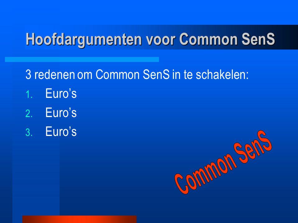 Hoofdargumenten voor Common SenS 3 redenen om Common SenS in te schakelen: 1. Euro's 2. Euro's 3. Euro's
