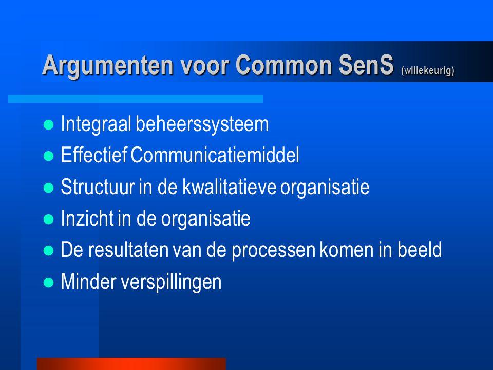 Argumenten voor Common SenS (willekeurig) De doelstellingen komen in beeld Verbeterprojecten duidelijk De hoofdprocessen worden gemeten Nacalculaties en Offertes Personeelsbeheer Verzuimbeheer Relatiebeheer (kansen, naamsbekendheid)