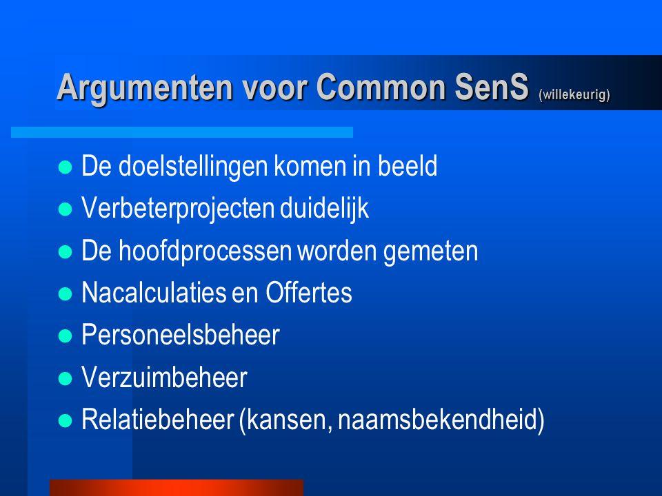 Argumenten voor Common SenS (willekeurig) De doelstellingen komen in beeld Verbeterprojecten duidelijk De hoofdprocessen worden gemeten Nacalculaties