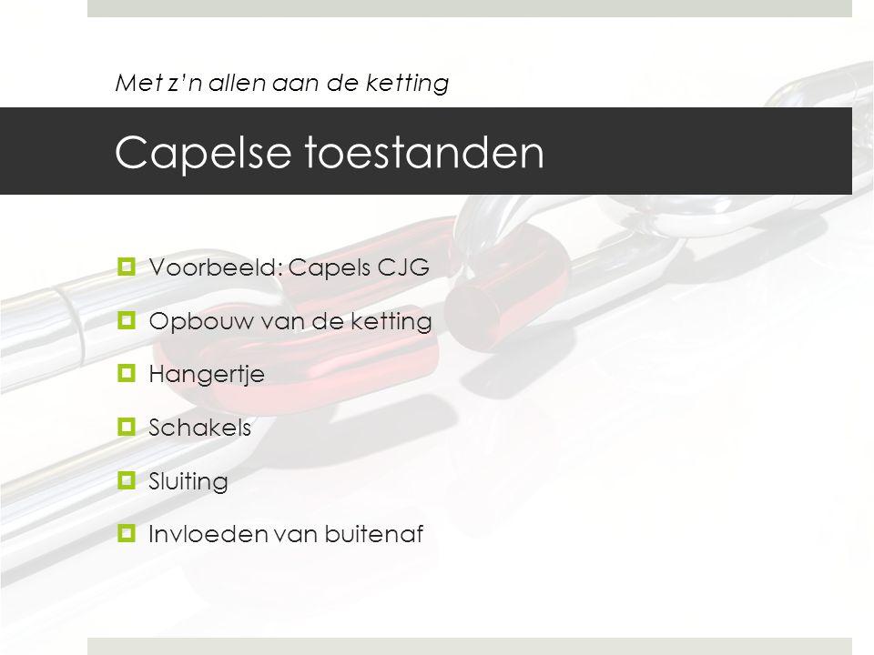 Capelse toestanden  Voorbeeld: Capels CJG  Opbouw van de ketting  Hangertje  Schakels  Sluiting  Invloeden van buitenaf Met z'n allen aan de ket