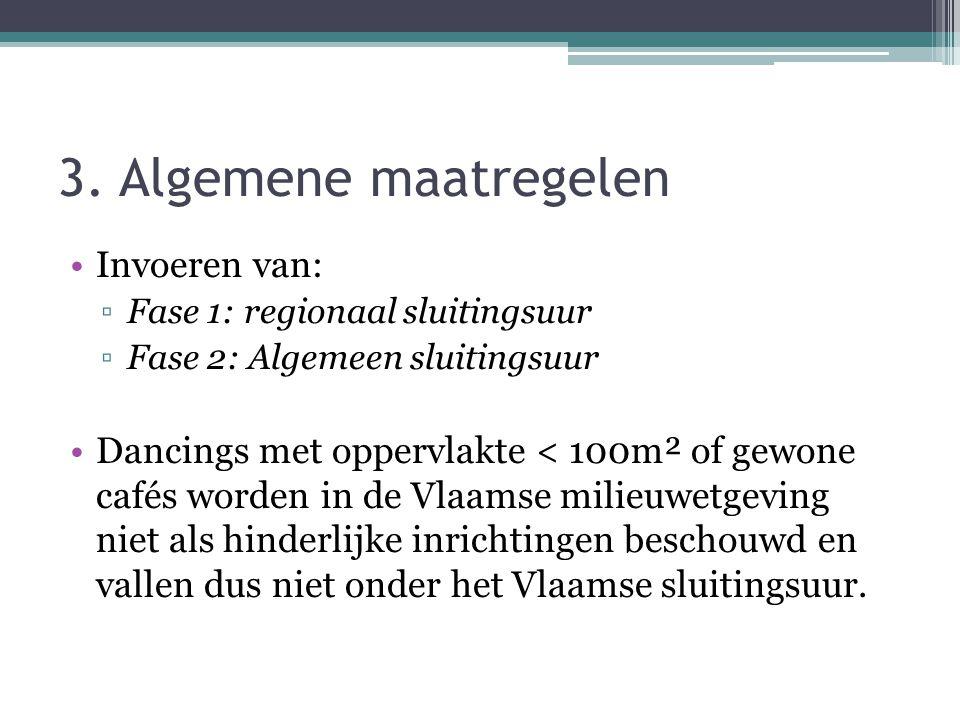 3. Algemene maatregelen Invoeren van: ▫Fase 1: regionaal sluitingsuur ▫Fase 2: Algemeen sluitingsuur Dancings met oppervlakte < 100m² of gewone cafés