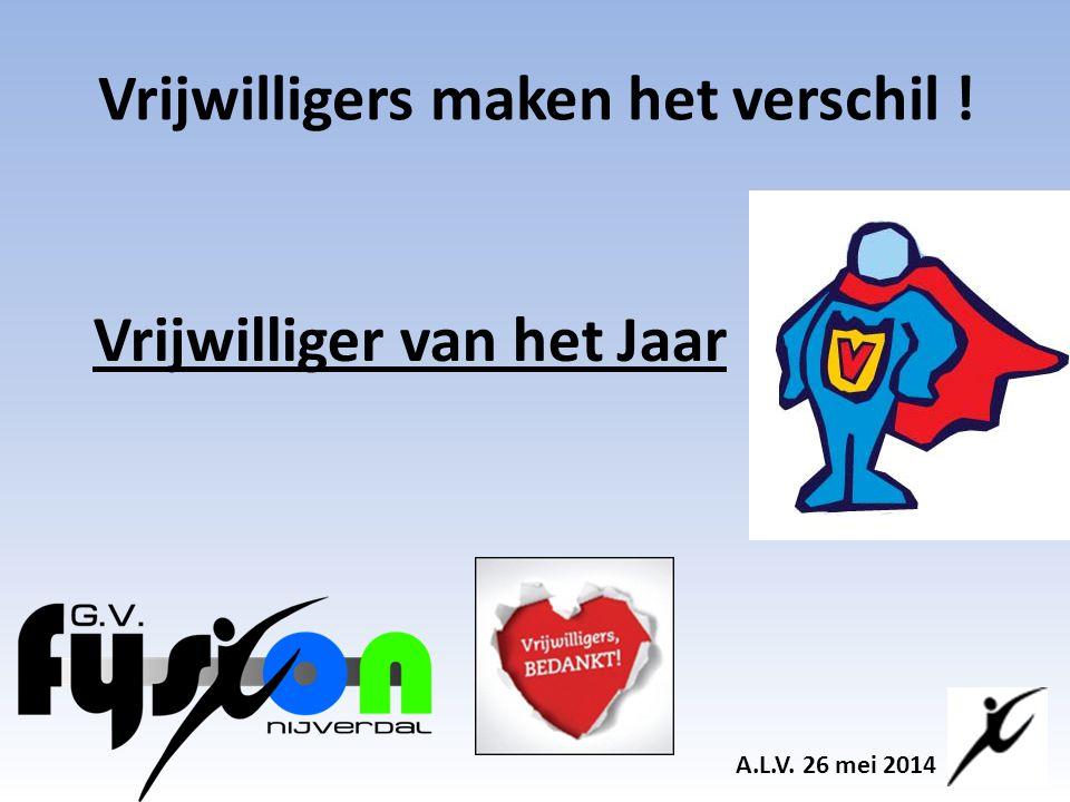 Vrijwilligers maken het verschil ! A.L.V. 26 mei 2014 Vrijwilliger van het Jaar