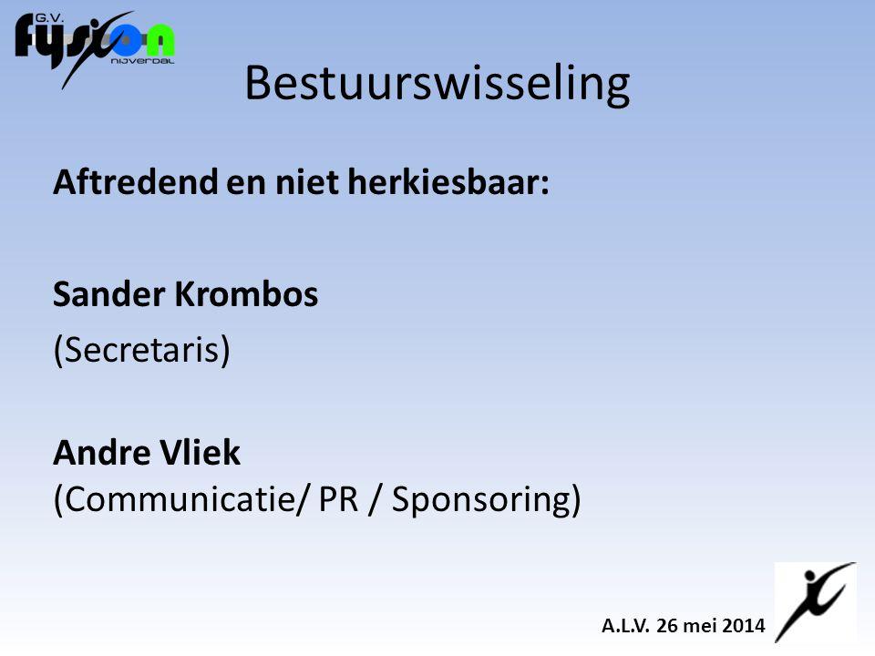 Aftredend en niet herkiesbaar: Sander Krombos (Secretaris) Andre Vliek (Communicatie/ PR / Sponsoring) Bestuurswisseling A.L.V.