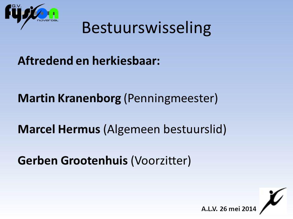 Aftredend en herkiesbaar: Martin Kranenborg (Penningmeester) Marcel Hermus (Algemeen bestuurslid) Gerben Grootenhuis (Voorzitter) Bestuurswisseling A.L.V.
