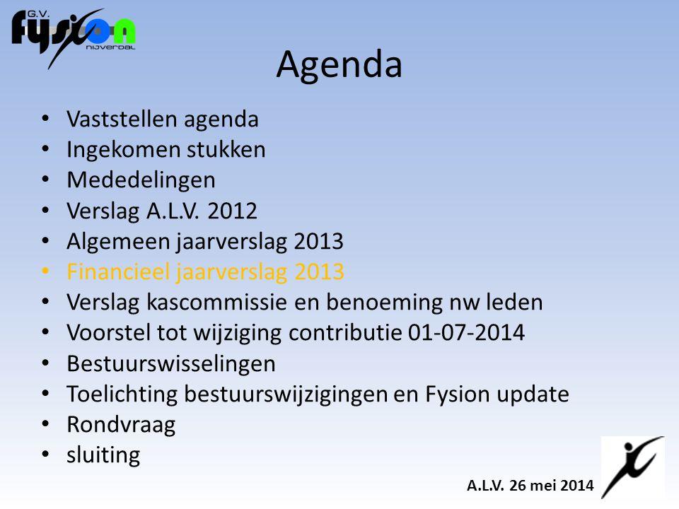 Agenda Vaststellen agenda Ingekomen stukken Mededelingen Verslag A.L.V.