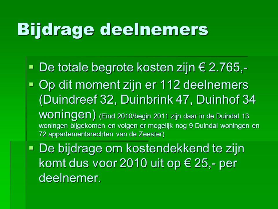 Bijdrage deelnemers  De totale begrote kosten zijn € 2.765,-  Op dit moment zijn er 112 deelnemers (Duindreef 32, Duinbrink 47, Duinhof 34 woningen) (Eind 2010/begin 2011 zijn daar in de Duindal 13 woningen bijgekomen en volgen er mogelijk nog 9 Duindal woningen en 72 appartementsrechten van de Zeester)  De bijdrage om kostendekkend te zijn komt dus voor 2010 uit op € 25,- per deelnemer.