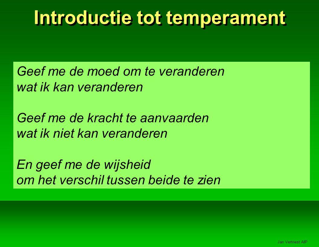 Jan Vertriest AIP Introductie tot temperament Geef me de moed om te veranderen wat ik kan veranderen Geef me de kracht te aanvaarden wat ik niet kan veranderen En geef me de wijsheid om het verschil tussen beide te zien