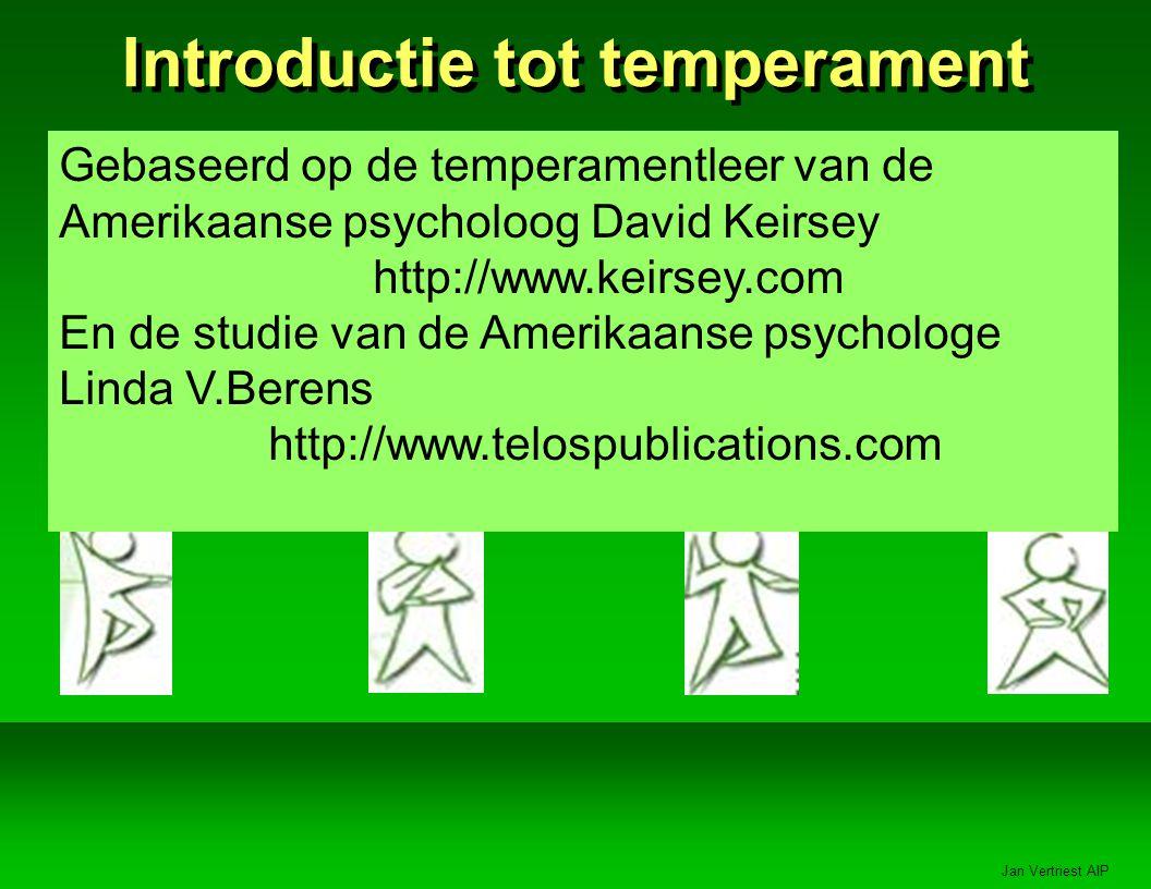 Jan Vertriest AIP Introductie tot temperament Gebaseerd op de temperamentleer van de Amerikaanse psycholoog David Keirsey http://www.keirsey.com En de studie van de Amerikaanse psychologe Linda V.Berens http://www.telospublications.com