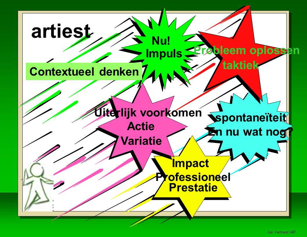Jan Vertriest AIP spontaneïteit En nu wat nog.Professioneel Prestatie Impact artiest Nu.