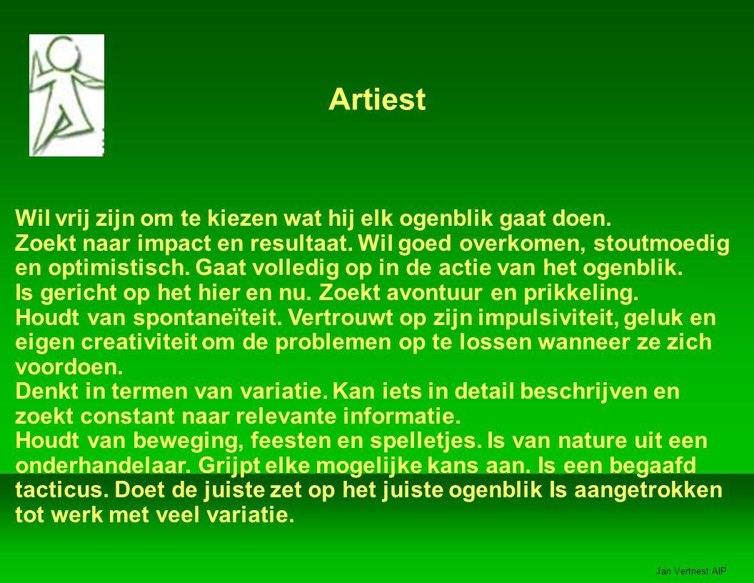Jan Vertriest AIP Artiest Wil vrij zijn om te kiezen wat hij elk ogenblik gaat doen.